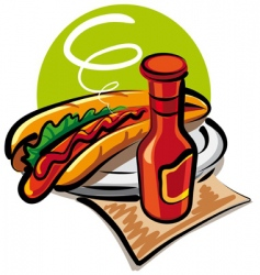 hotdog and ketchup vector image