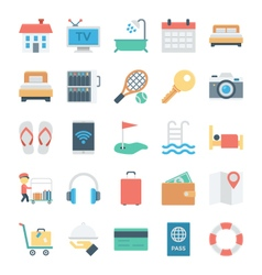 Hotel and services colored icons 1 vector