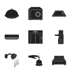 Hotel set icons in black style big collection of vector
