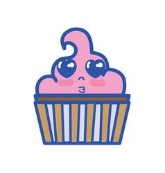 Kawaii cute tender muffin dessert vector