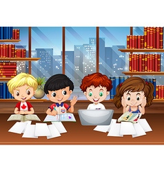 Kids working in the library vector image vector image