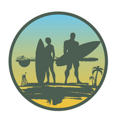 lady and man posing with surfboard vector image vector image