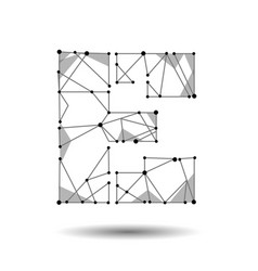 low poly letter e english latin cyrillic vector image