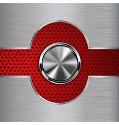 Metal background with steel button red vector