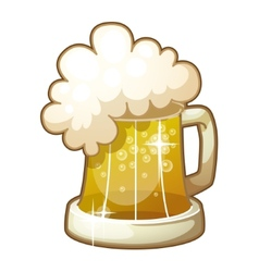 Mug of beer with foam isolated on white background vector image vector image