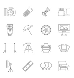 Photo studio icons set outline style vector