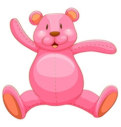 Pink teddy bear with happy face vector