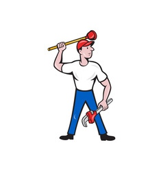 Plumber wield wrench plunger isolated cartoon vector