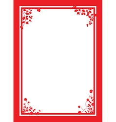 red floral corners background vector image vector image