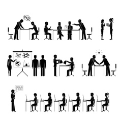 Set of business people silhouettes in meetings vector image vector image