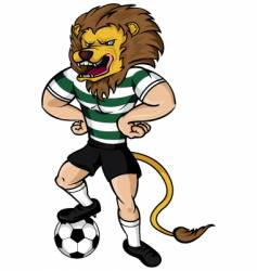 soccer lion mascot vector image vector image