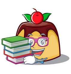 student with book pudding character cartoon style vector image