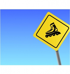 traffic sign roller sky background vector image vector image