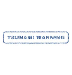 Tsunami warning textile stamp vector