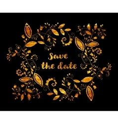 Gold greeting or save the date card vector