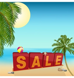 Summer sale sign on the beach vector image