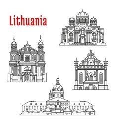 Historic landmarks and sightseeings of lithuania vector