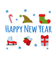Happy new year set sign and logo vector