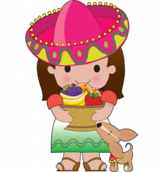 Mexican girl and dog vector