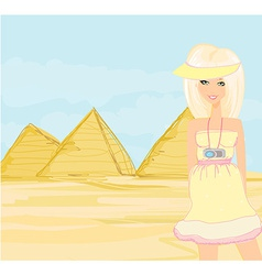 Happy tourist visits the pyramids vector