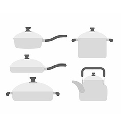Set kitchen utensils frying pan and saucepan Tea vector image