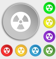 Radiation icon sign symbol on five flat buttons vector