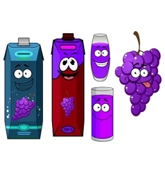 Cartoon grape bunch and juice packs vector