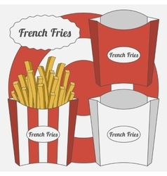 Set of french fries boxes vector
