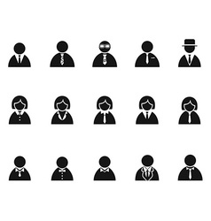 simple black businessman avatar icons set vector image