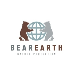 Bears keep the brown white globe earth and or flat vector