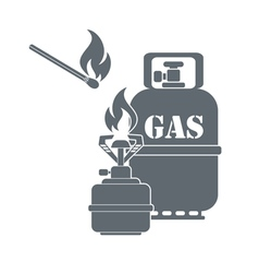 Camping gas container and matches icon vector