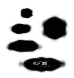 Black geometric ellipse halftone design elements vector