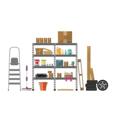 Interior of storeroom vector