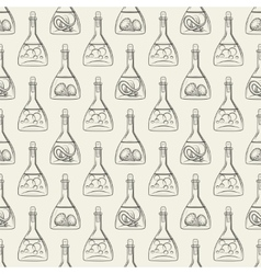 Alchemy seamless pattern with bottles vector