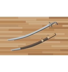 Arabian sword with wood table background vector