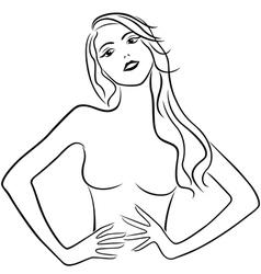 Beautiful girl holding hands on waistline vector