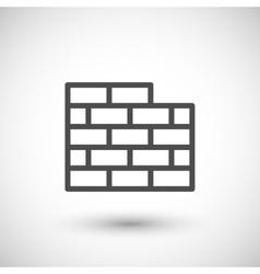 Brick wall line icon vector image vector image