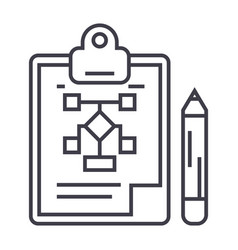 business planpencilclipboard line icon vector image