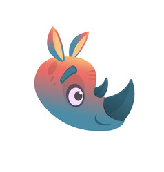 cartoon colorful rhino head vector image