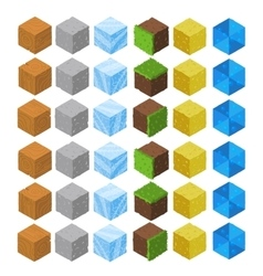Cartoon isometric game brick cubes set vector