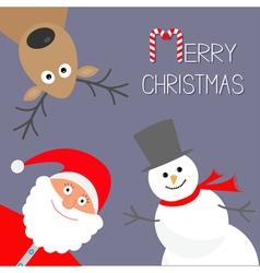 Cartoon Snowman Santa Claus and deer Violet vector image vector image