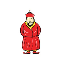 Chinese asian man wearing robe cartoon vector