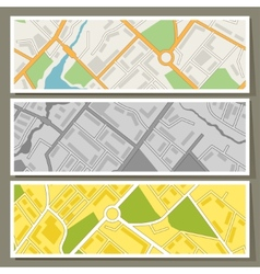 City map abstract horizontal banners background vector image
