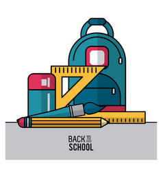 color poster of back to school with backpack and vector image