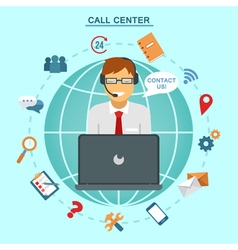 Concept of technical online support call center vector