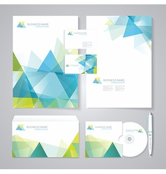 Corporate identity template with blue and green vector