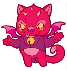 fantasy cartoon kitten with horns wings and bells vector image