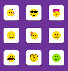 Flat icon face set of pleasant caress have an vector