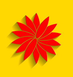 Flower sign red icon with soft shadow on vector