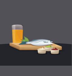 Fresh fish with orange juice and sauce fast food vector